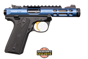 Ruger Pistol: Semi-Auto Mark IV 22/45 Lite Blue W/ Gold Trigger - Click to see Larger Image