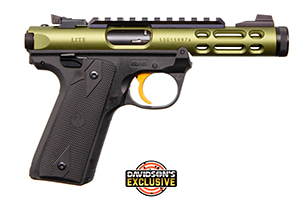 Ruger Pistol: Semi-Auto Mark IV 22/45 Lite OD Green W/ Gold Trigger - Click to see Larger Image