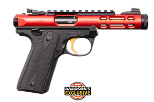 Ruger Pistol: Semi-Auto Mark IV 22/45 Lite Red W/ Gold Trigger - Click to see Larger Image