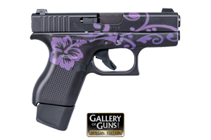 Glock 42 Black & Bright Purple Floral Pattern Safe Action 380 Cerakote Black & Bright Purple Floral Pattern